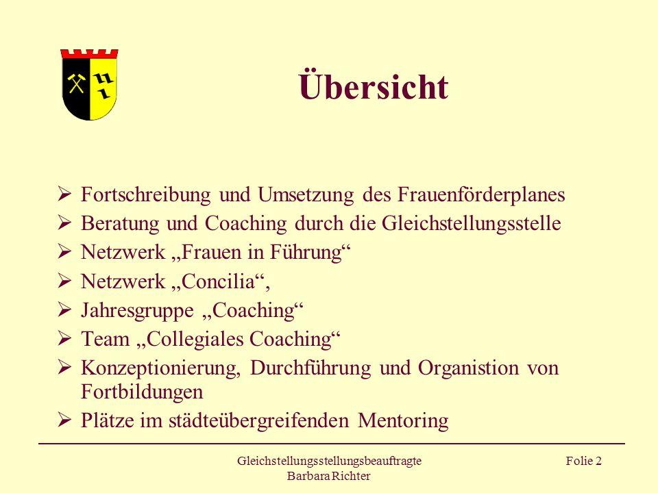 Gleichstellungsstellungsbeauftragte Barbara Richter Folie 2 Übersicht  Fortschreibung und Umsetzung des Frauenförderplanes  Beratung und Coaching du