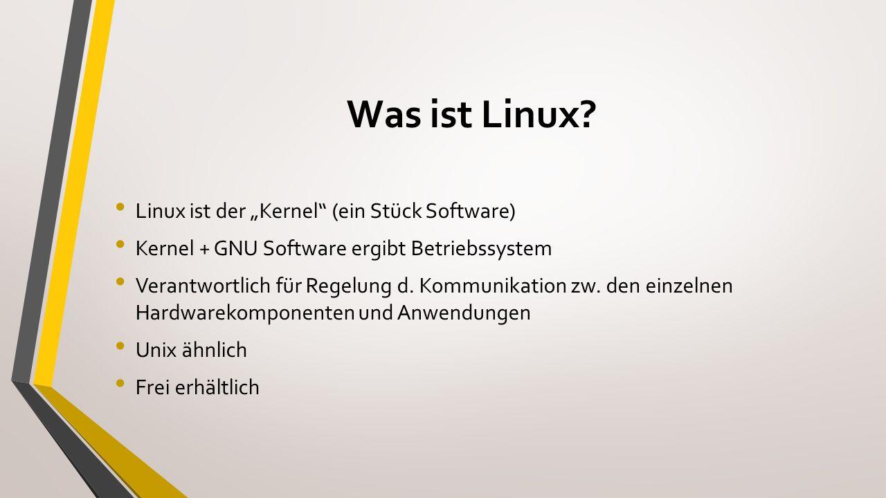 """Historie 1991 startete Linus Torvalds in Helsinki eine Terminalemulation auf Unix- Server der Uni (Just for fun) Linus + """"X = Linux Idee: Hardwarenah und Betriebssystemunabhängig 1992 wurde Linux unter GNU Lizenz zum freien Betriebssystem 1996 Pinguin Maskottchen Tux """"Kind der Internets"""