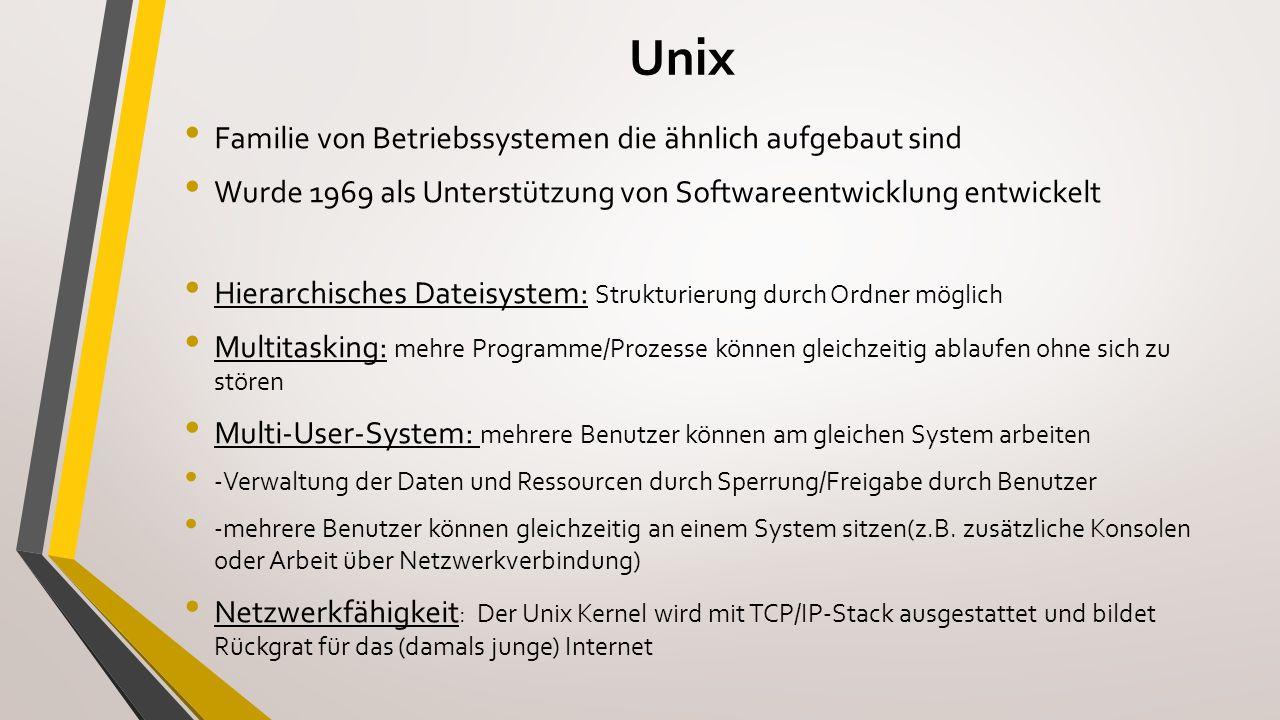 Die Shell Benutzer ← Shell → Betriebssystem-Kernel Eigene Befehlssprache (Bourne-Shell-Syntax) Zur Ausführung von Befehlen und Programmen Ziel: Arbeitserleichterung für Benutzer