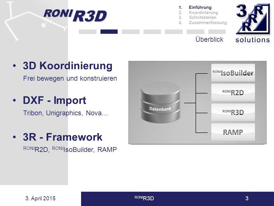 3. April 2015 RONI R3D3 Überblick 1.Einführung 2.Koordinierung 3.Schnittstellen 4.Zusammenfassung 3D Koordinierung Frei bewegen und konstruieren DXF -