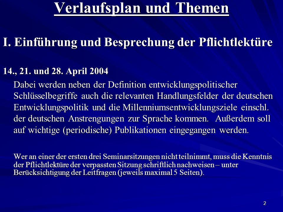 2 Verlaufsplan und Themen I. Einführung und Besprechung der Pflichtlektüre 14., 21.