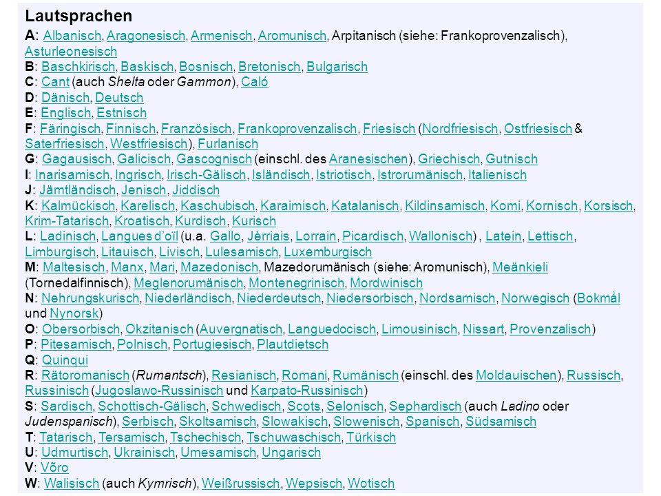 Lautsprachen A: Albanisch, Aragonesisch, Armenisch, Aromunisch, Arpitanisch (siehe: Frankoprovenzalisch), Asturleonesisch AlbanischAragonesischArmenischAromunisch Asturleonesisch B: Baschkirisch, Baskisch, Bosnisch, Bretonisch, BulgarischBaschkirischBaskischBosnischBretonischBulgarisch C: Cant (auch Shelta oder Gammon), CalóCantCaló D: Dänisch, DeutschDänischDeutsch E: Englisch, EstnischEnglischEstnisch F: Färingisch, Finnisch, Französisch, Frankoprovenzalisch, Friesisch (Nordfriesisch, Ostfriesisch & Saterfriesisch, Westfriesisch), FurlanischFäringischFinnischFranzösischFrankoprovenzalischFriesischNordfriesischOstfriesisch SaterfriesischWestfriesischFurlanisch G: Gagausisch, Galicisch, Gascognisch (einschl.
