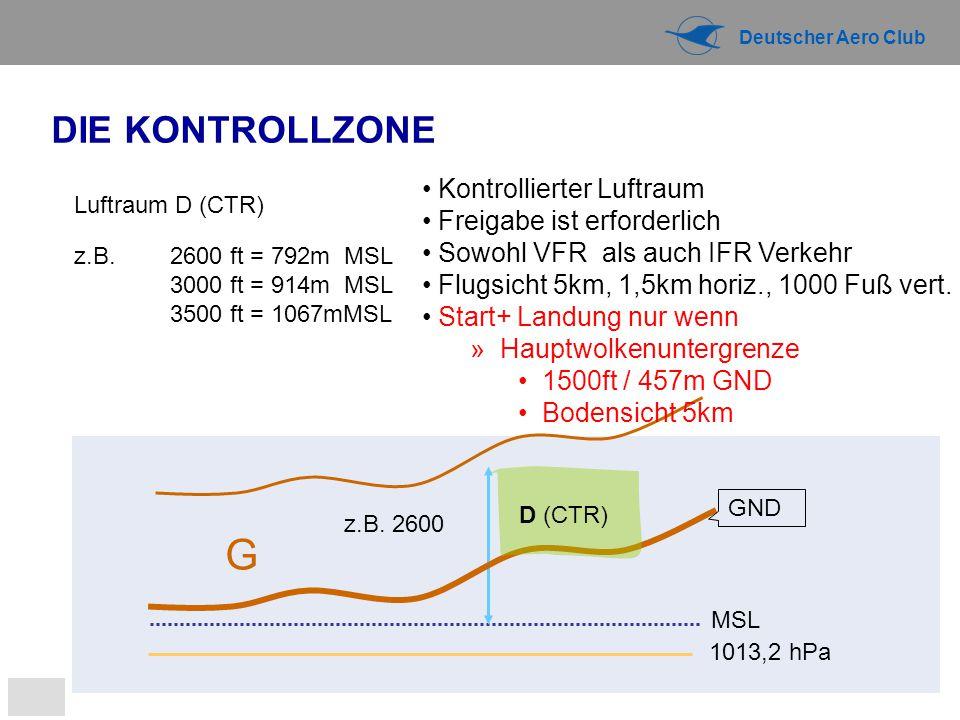 Deutscher Aero Club 1013,2 hPa MSL G z.B. 2600 Luftraum D (CTR) z.B. 2600 ft = 792m MSL 3000 ft = 914m MSL 3500 ft = 1067mMSL GND DIE KONTROLLZONE D (