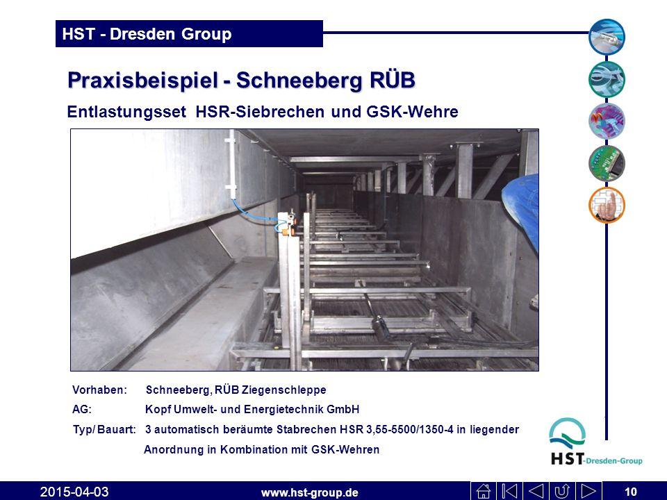 www.hst-group.de HST - Dresden Group Praxisbeispiel - Schneeberg RÜB Entlastungsset HSR-Siebrechen und GSK-Wehre 10 2015-04-03 Vorhaben: Schneeberg, R
