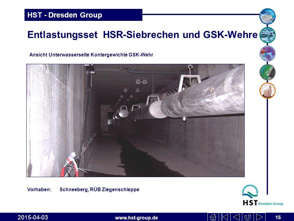 www.hst-group.de HST - Dresden Group Entlastungsset HSR-Siebrechen und GSK-Wehre 15 2015-04-03 Ansicht Unterwasserseite Kontergewichte GSK-Wehr Vorhab