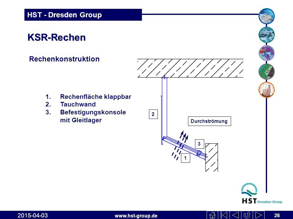 www.hst-group.de HST - Dresden Group KSR-Rechen Rechenkonstruktion 26 2015-04-03 1.Rechenfläche klappbar 2.Tauchwand 3.Befestigungskonsole mit Gleitla