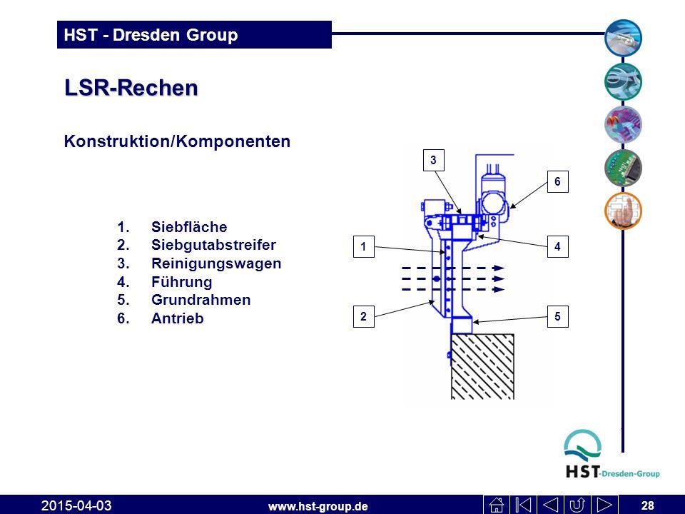 www.hst-group.de HST - Dresden Group LSR-Rechen 28 2015-04-03 Konstruktion/Komponenten 2 1 1.Siebfläche 2.Siebgutabstreifer 3.Reinigungswagen 4.Führun