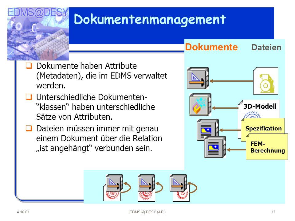 """4.10.01EDMS @ DESY (J.B.)17 Dokumentenmanagement qDokumente haben Attribute (Metadaten), die im EDMS verwaltet werden. qUnterschiedliche Dokumenten- """""""