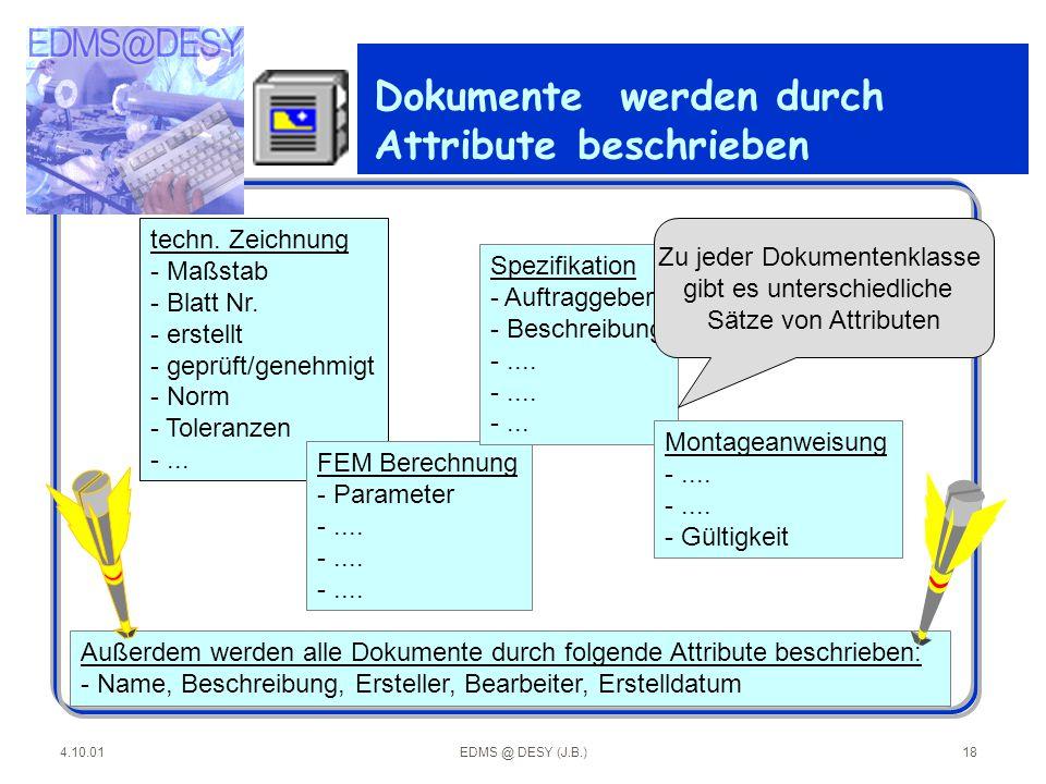 4.10.01EDMS @ DESY (J.B.)18 Dokumente werden durch Attribute beschrieben techn. Zeichnung - Maßstab - Blatt Nr. - erstellt - geprüft/genehmigt - Norm
