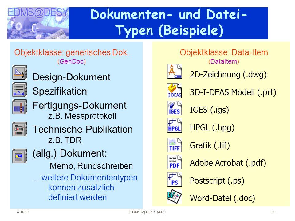 4.10.01EDMS @ DESY (J.B.)19 Dokumenten- und Datei- Typen (Beispiele) Design-Dokument Spezifikation Fertigungs-Dokument z.B. Messprotokoll Technische P