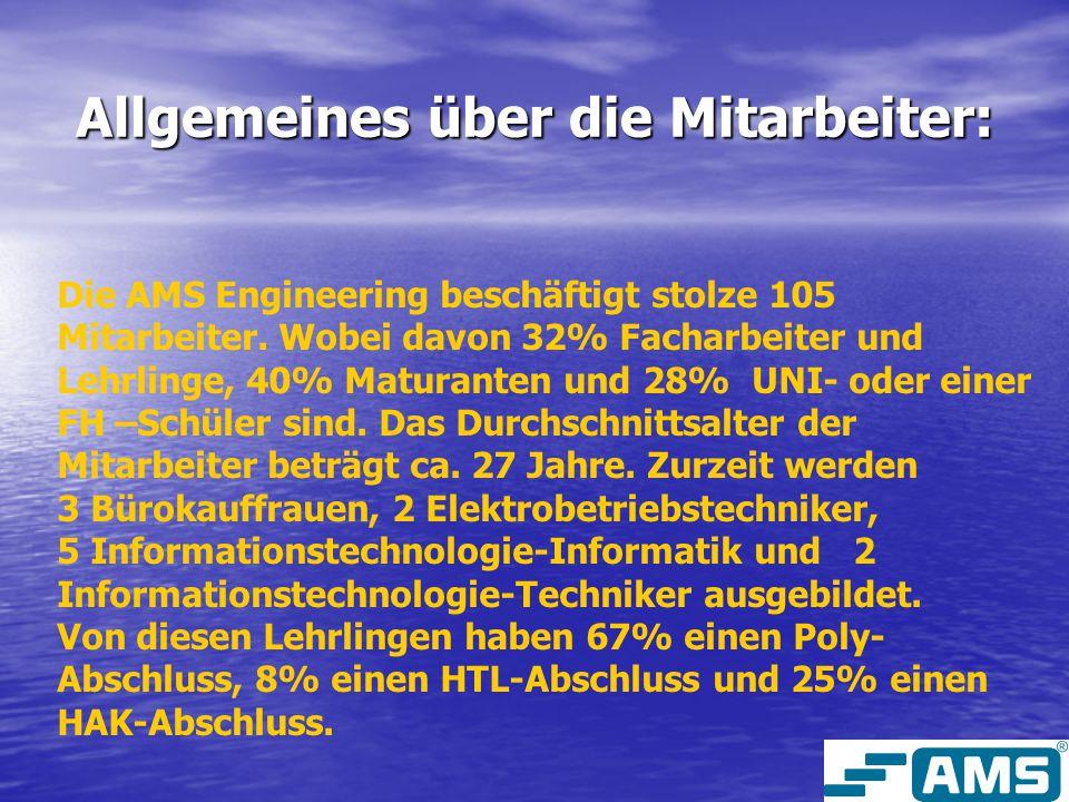 Allgemeines über die Mitarbeiter: Die AMS Engineering beschäftigt stolze 105 Mitarbeiter. Wobei davon 32% Facharbeiter und Lehrlinge, 40% Maturanten u
