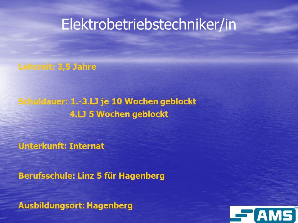 Elektrobetriebstechniker/in Lehrzeit: 3,5 Jahre Schuldauer: 1.-3.LJ je 10 Wochen geblockt 4.LJ 5 Wochen geblockt Unterkunft: Internat Berufsschule: Linz 5 für Hagenberg Ausbildungsort: Hagenberg