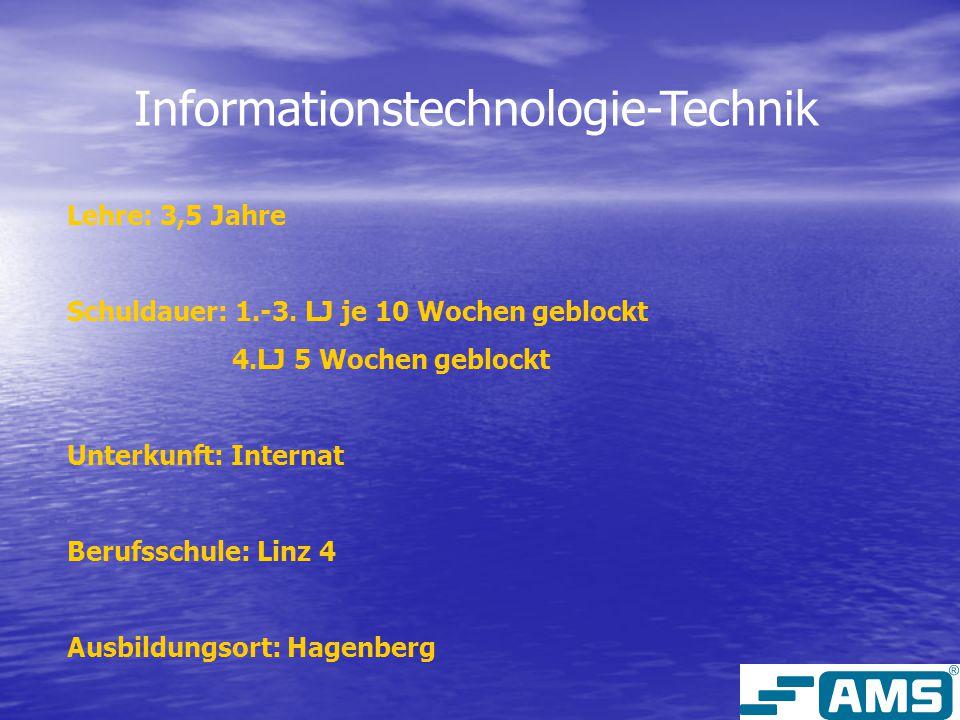 Informationstechnologie-Technik Lehre: 3,5 Jahre Schuldauer: 1.-3.