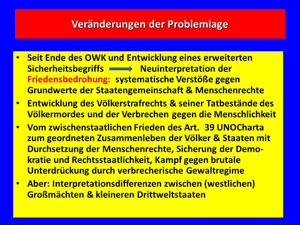 Veränderungen der Problemlage Seit Ende des OWK und Entwicklung eines erweiterten Sicherheitsbegriffs Neuinterpretation der Friedensbedrohung: systema