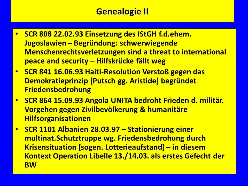 Genealogie II SCR 808 22.02.93 Einsetzung des IStGH f.d.ehem. Jugoslawien – Begründung: schwerwiegende Menschenrechtsverletzungen sind a threat to int
