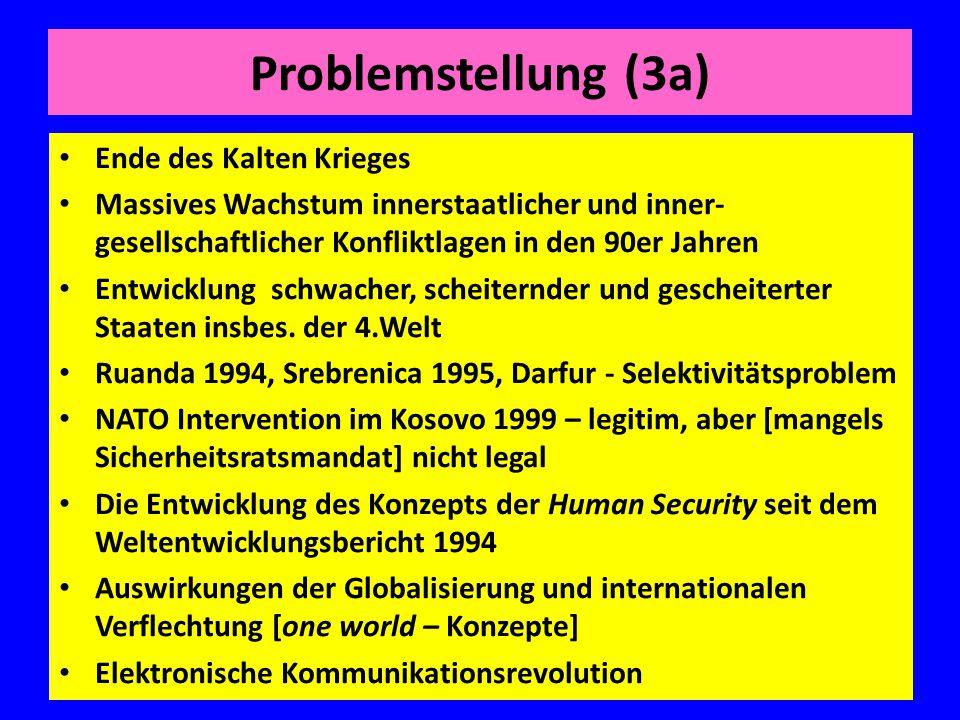 Problemstellung (3a) Ende des Kalten Krieges Massives Wachstum innerstaatlicher und inner- gesellschaftlicher Konfliktlagen in den 90er Jahren Entwick
