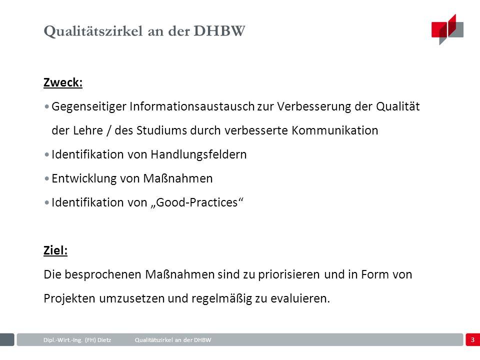 3 Dipl.-Wirt.-Ing. (FH) DietzQualitätszirkel an der DHBW Qualitätszirkel an der DHBW Zweck: Gegenseitiger Informationsaustausch zur Verbesserung der Q