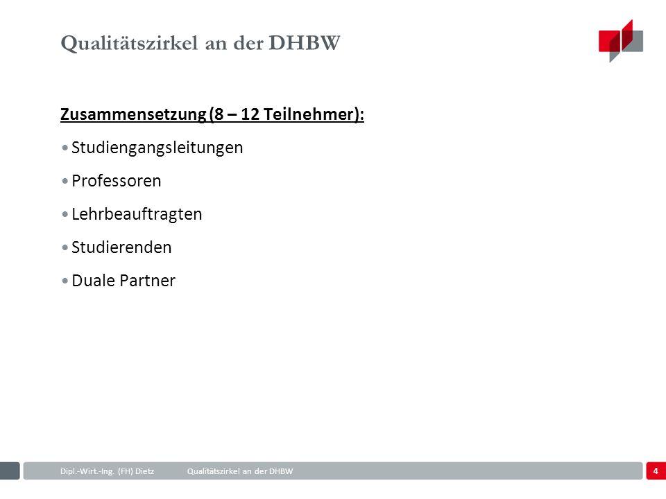 4 Dipl.-Wirt.-Ing. (FH) DietzQualitätszirkel an der DHBW Qualitätszirkel an der DHBW Zusammensetzung (8 – 12 Teilnehmer): Studiengangsleitungen Profes
