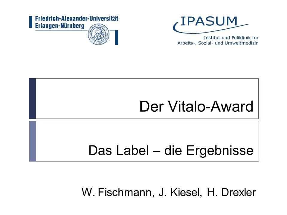 Der Vitalo-Award Das Label – die Ergebnisse W. Fischmann, J. Kiesel, H. Drexler