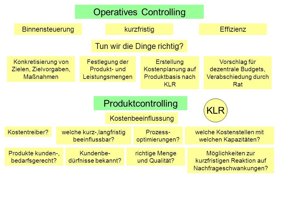 Operatives Controlling BinnensteuerungkurzfristigEffizienz Tun wir die Dinge richtig? Konkretisierung von Zielen, Zielvorgaben, Maßnahmen Festlegung d