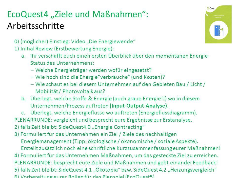 """EcoQuest4 """"Ziele und Maßnahmen : Arbeitsschritte 0) (möglicher) Einstieg: Video """"Die Energiewende 1) Initial Review (Erstbewertung Energie): a.Ihr verschafft euch einen ersten Überblick über den momentanen Energie- Status des Unternehmens:  Welche Energieträger werden wofür eingesetzt."""