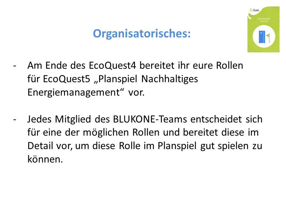 """Organisatorisches: -Am Ende des EcoQuest4 bereitet ihr eure Rollen für EcoQuest5 """"Planspiel Nachhaltiges Energiemanagement"""" vor. -Jedes Mitglied des B"""