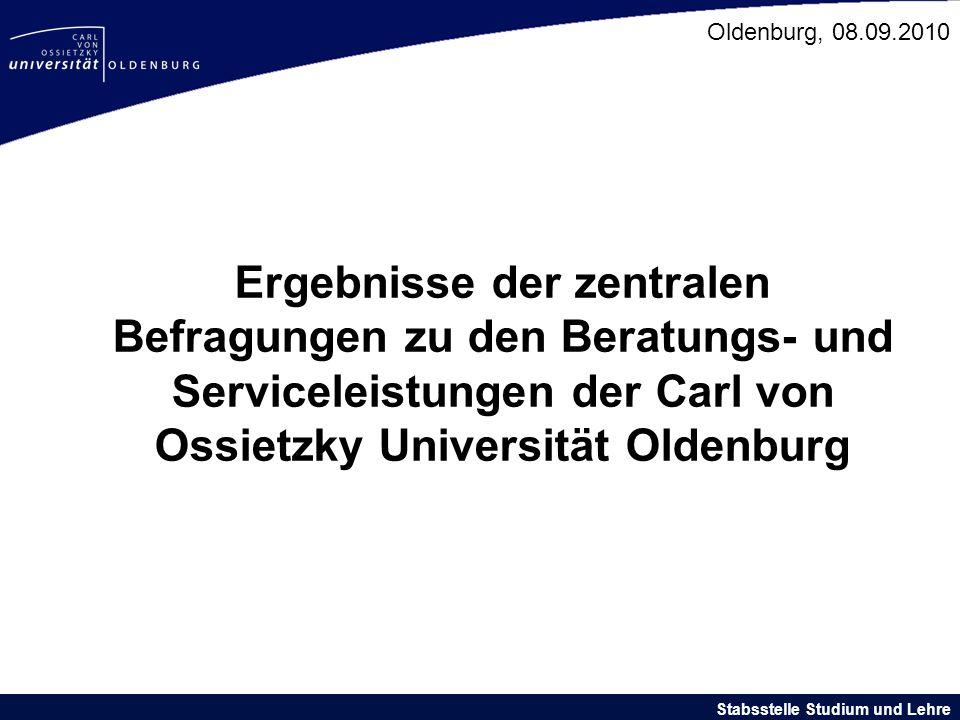 Ergebnisse der zentralen Befragungen zu den Beratungs- und Serviceleistungen der Carl von Ossietzky Universität Oldenburg Stabsstelle Studium und Lehr