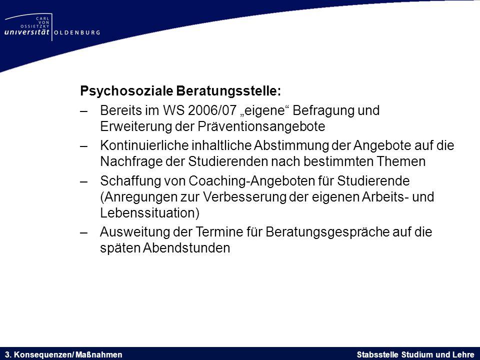 """Psychosoziale Beratungsstelle: –Bereits im WS 2006/07 """"eigene"""" Befragung und Erweiterung der Präventionsangebote –Kontinuierliche inhaltliche Abstimmu"""
