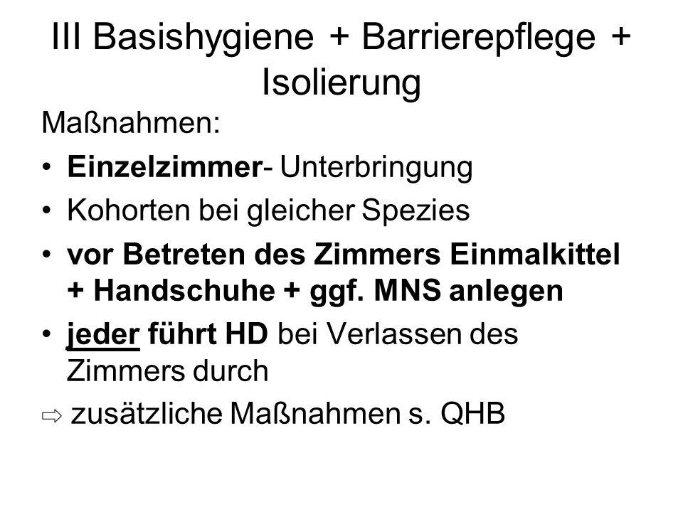III Basishygiene + Barrierepflege + Isolierung Maßnahmen: Einzelzimmer- Unterbringung Kohorten bei gleicher Spezies vor Betreten des Zimmers Einmalkit