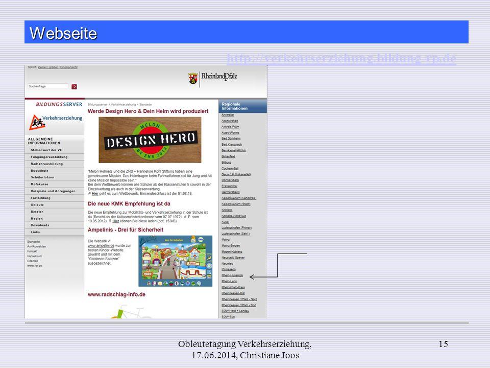 Webseite 15Obleutetagung Verkehrserziehung, 17.06.2014, Christiane Joos http://verkehrserziehung.bildung-rp.de