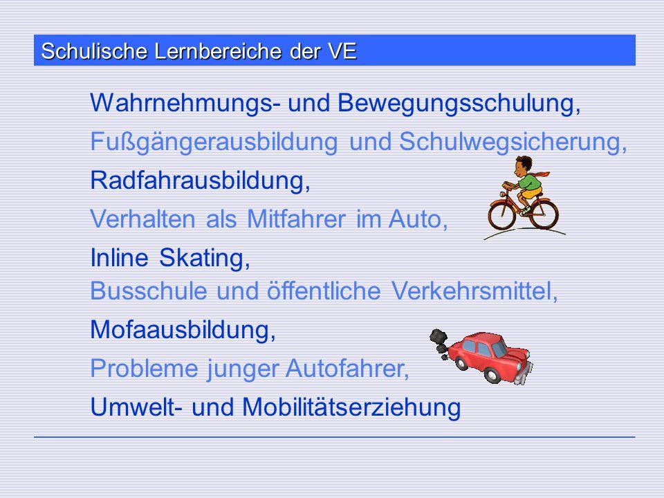 Schulische Lernbereiche der VE Wahrnehmungs- und Bewegungsschulung, Fußgängerausbildung und Schulwegsicherung, Radfahrausbildung, Verhalten als Mitfah