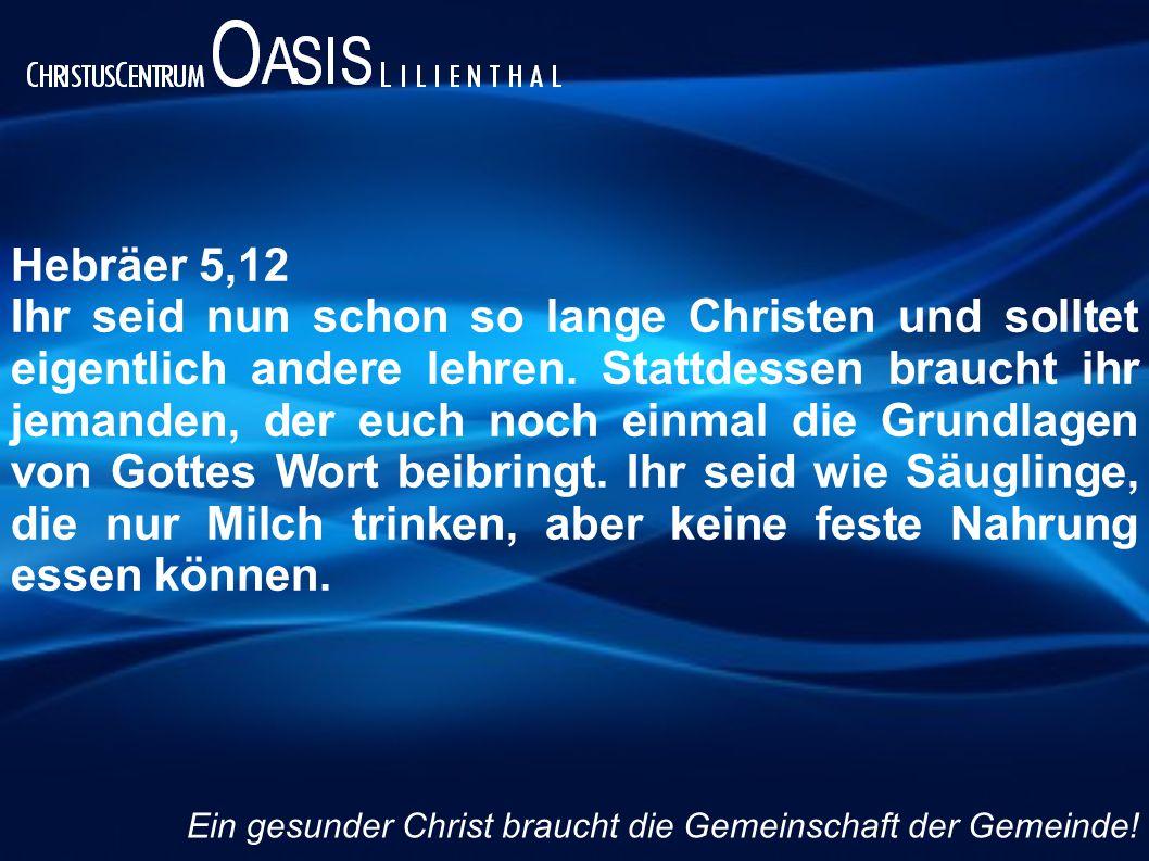 Hebräer 5,12 Ihr seid nun schon so lange Christen und solltet eigentlich andere lehren. Stattdessen braucht ihr jemanden, der euch noch einmal die Gru