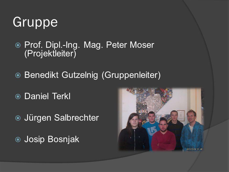 Gruppe  Prof. Dipl.-Ing. Mag. Peter Moser (Projektleiter)  Benedikt Gutzelnig (Gruppenleiter)  Daniel Terkl  Jürgen Salbrechter  Josip Bosnjak