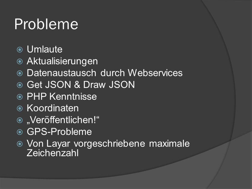 """Probleme  Umlaute  Aktualisierungen  Datenaustausch durch Webservices  Get JSON & Draw JSON  PHP Kenntnisse  Koordinaten  """"Veröffentlichen!  GPS-Probleme  Von Layar vorgeschriebene maximale Zeichenzahl"""