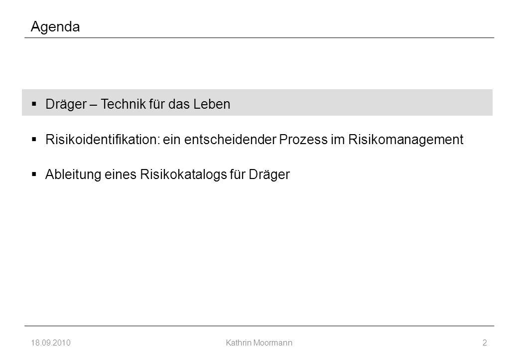 Agenda  Dräger – Technik für das Leben  Risikoidentifikation: ein entscheidender Prozess im Risikomanagement  Ableitung eines Risikokatalogs für Dräger 18.09.2010Kathrin Moormann2