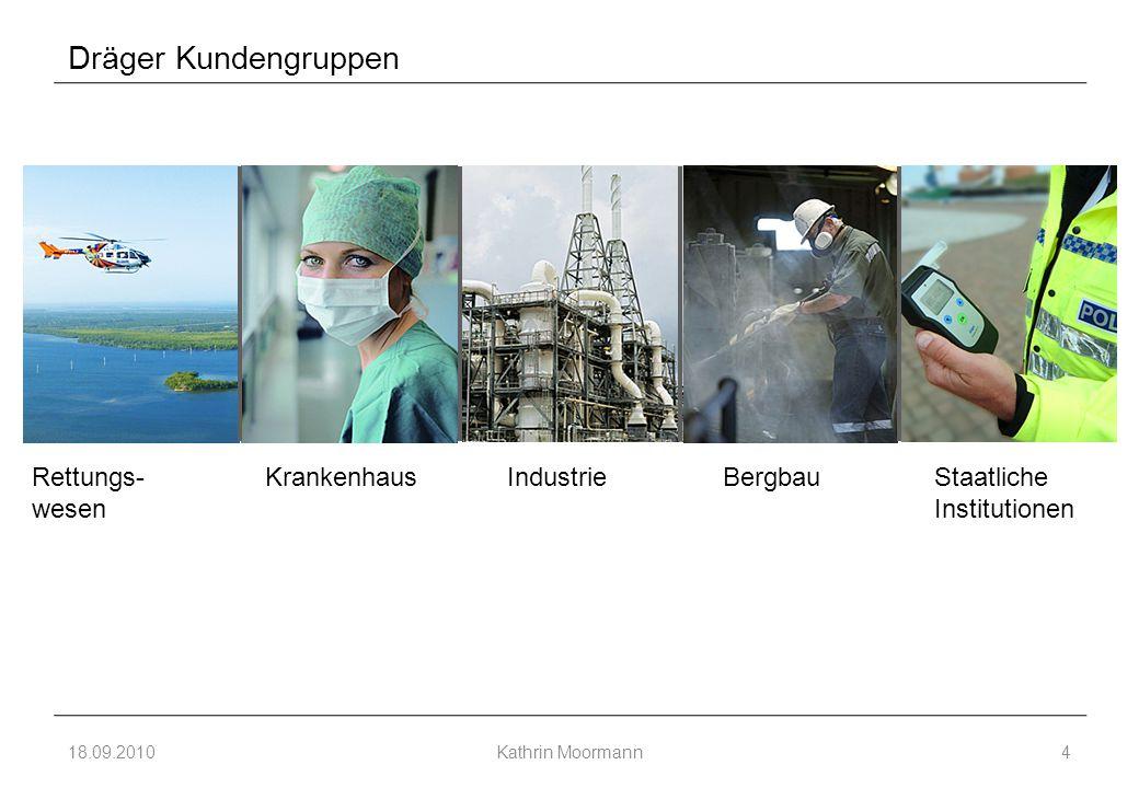 Dräger Kundengruppen 18.09.2010Kathrin Moormann4 Rettungs- wesen KrankenhausBergbauIndustrieStaatliche Institutionen