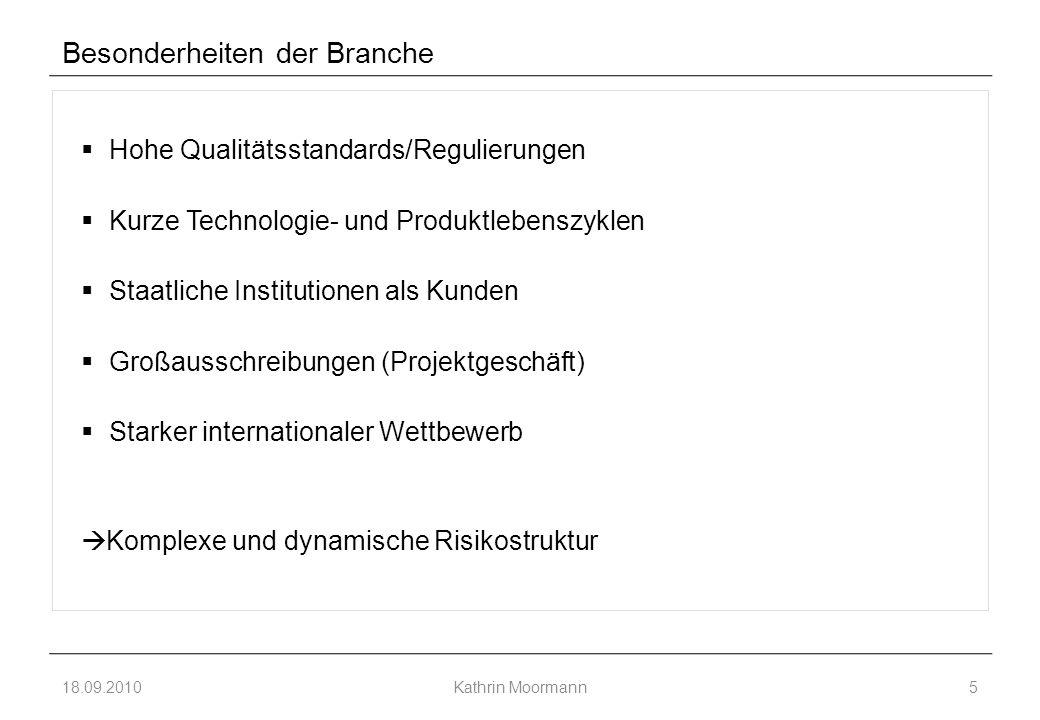 Besonderheiten der Branche  Hohe Qualitätsstandards/Regulierungen  Kurze Technologie- und Produktlebenszyklen  Staatliche Institutionen als Kunden  Großausschreibungen (Projektgeschäft)  Starker internationaler Wettbewerb  Komplexe und dynamische Risikostruktur 18.09.2010Kathrin Moormann5