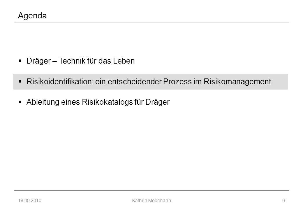 Agenda  Dräger – Technik für das Leben  Risikoidentifikation: ein entscheidender Prozess im Risikomanagement  Ableitung eines Risikokatalogs für Dräger 18.09.2010Kathrin Moormann6