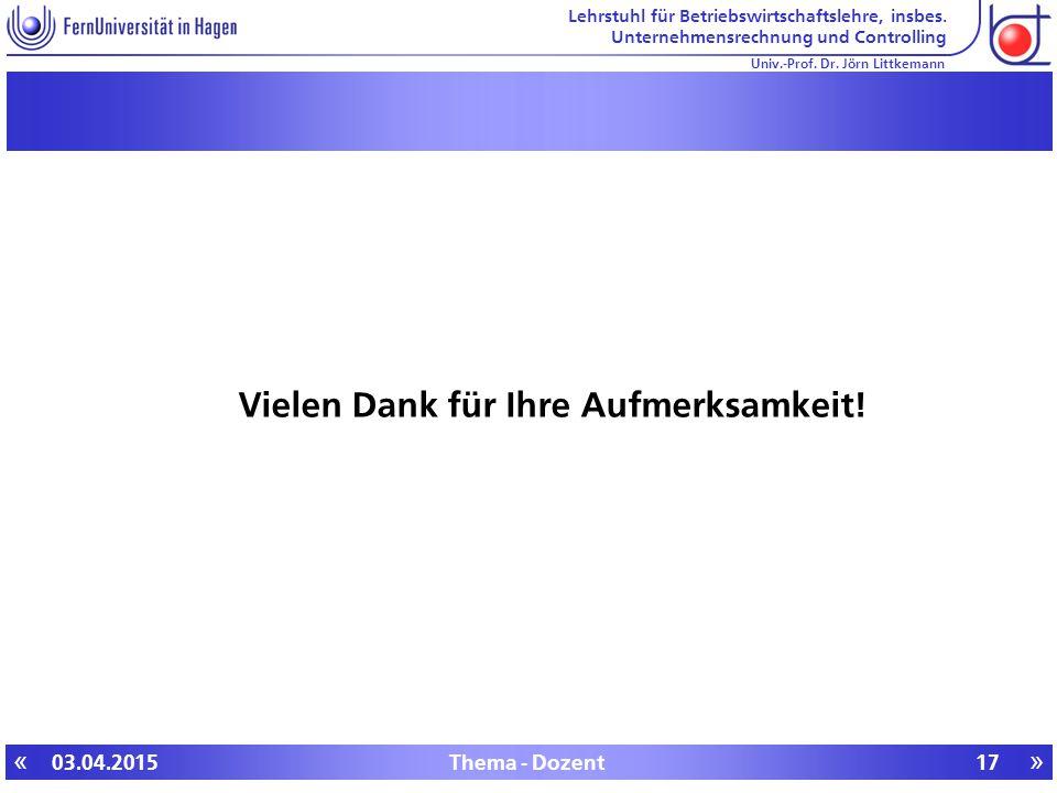 Lehrstuhl für Betriebswirtschaftslehre, insbes. Unternehmensrechnung und Controlling «» Univ.-Prof.