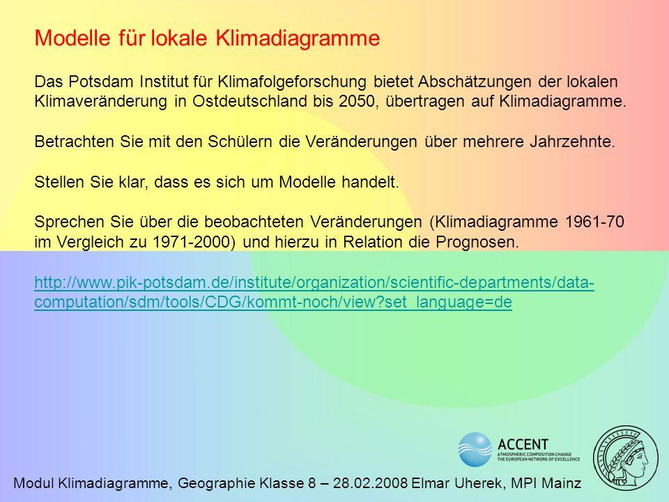 Modul Klimadiagramme, Geographie Klasse 8 – 28.02.2008 Elmar Uherek, MPI Mainz Modelle für lokale Klimadiagramme Das Potsdam Institut für Klimafolgefo