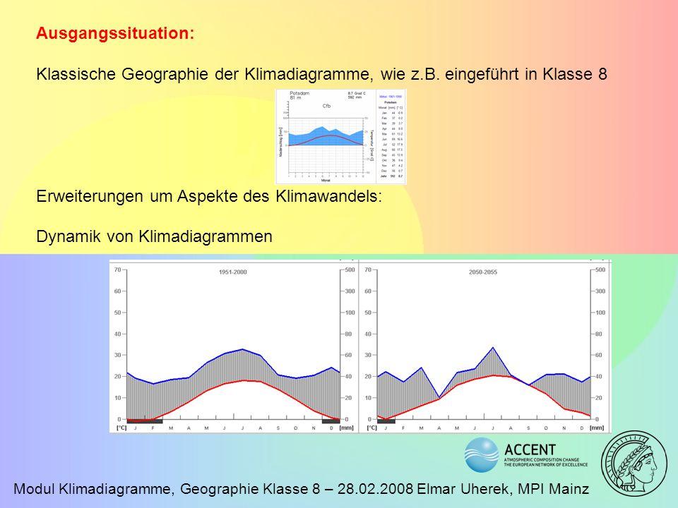 Modul Klimadiagramme, Geographie Klasse 8 – 28.02.2008 Elmar Uherek, MPI Mainz Leitgedanke Klimadiagramme werden zur Beschreibung der klimatischen Verhältnisse in verschiedenen Regionen der Welt eingeführt.