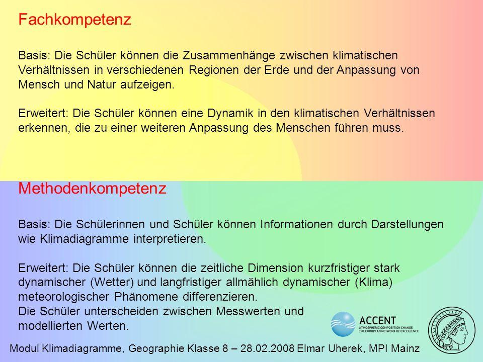 Modul Klimadiagramme, Geographie Klasse 8 – 28.02.2008 Elmar Uherek, MPI Mainz Fachkompetenz Basis: Die Schüler können die Zusammenhänge zwischen klim