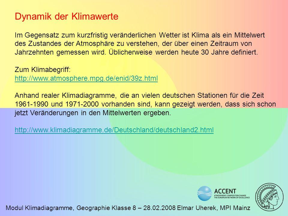Modul Klimadiagramme, Geographie Klasse 8 – 28.02.2008 Elmar Uherek, MPI Mainz Dynamik der Klimawerte Im Gegensatz zum kurzfristig veränderlichen Wett
