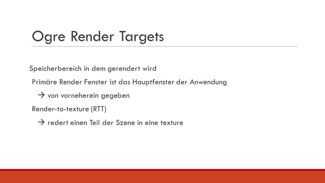 Ogre Render Targets Speicherbereich in dem gerendert wird Primäre Render Fenster ist das Hauptfenster der Anwendung  von vorneherein gegeben Render-t