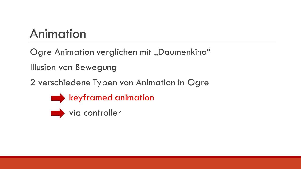 """Animation Ogre Animation verglichen mit """"Daumenkino"""" Illusion von Bewegung 2 verschiedene Typen von Animation in Ogre keyframed animation via controll"""