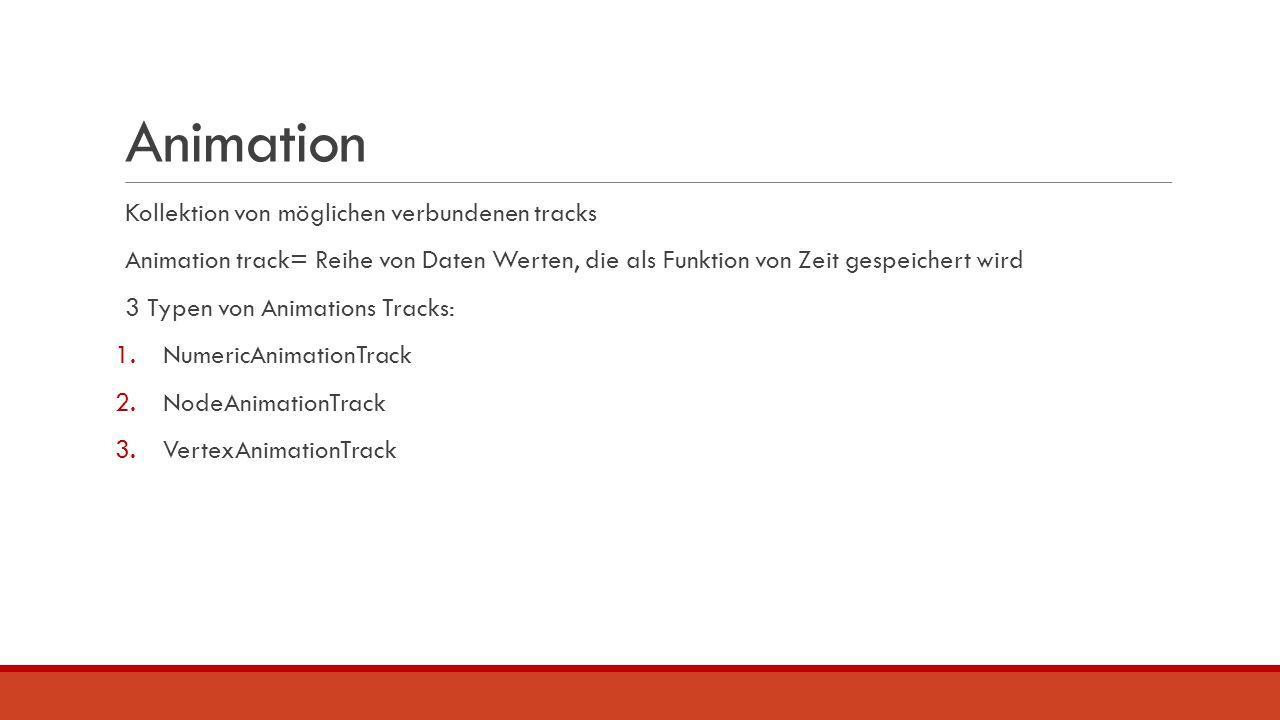Animation Kollektion von möglichen verbundenen tracks Animation track= Reihe von Daten Werten, die als Funktion von Zeit gespeichert wird 3 Typen von