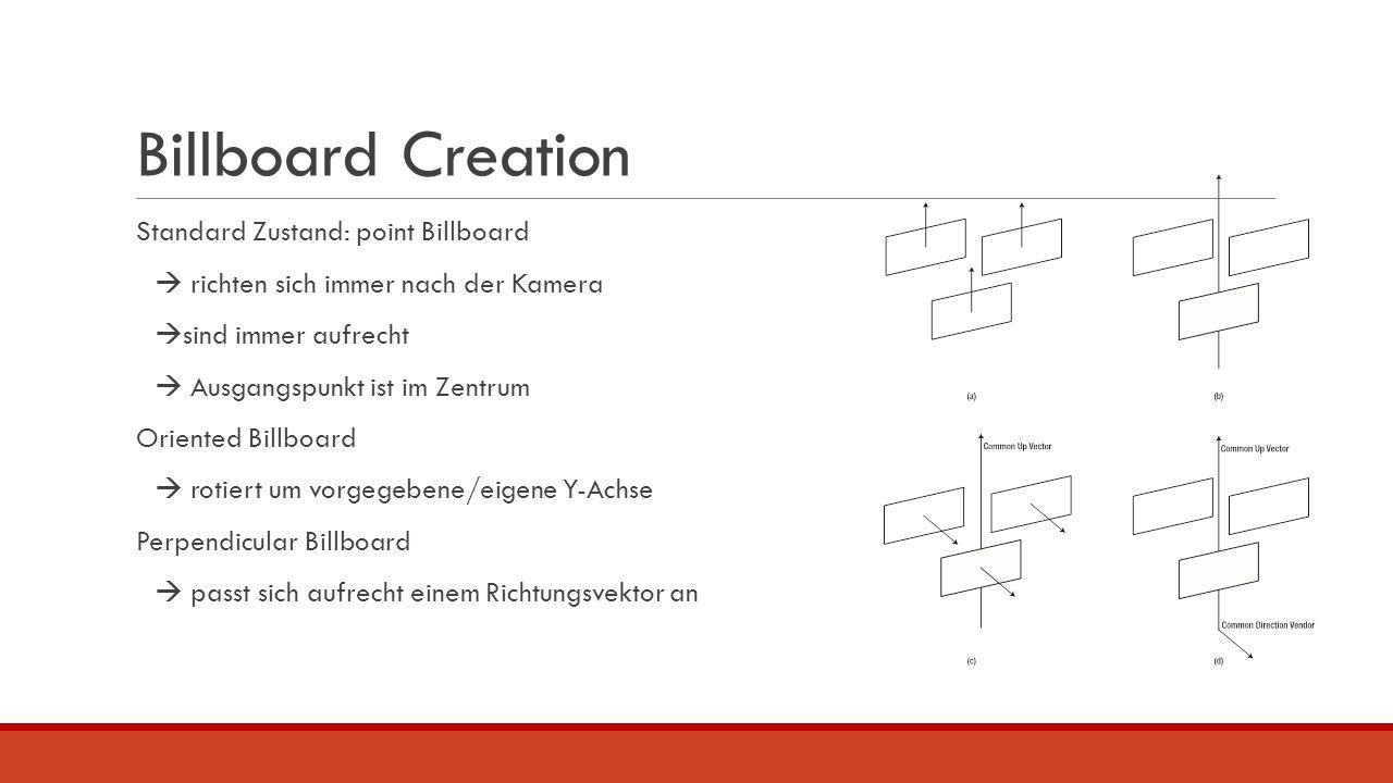 Billboard Creation Standard Zustand: point Billboard  richten sich immer nach der Kamera  sind immer aufrecht  Ausgangspunkt ist im Zentrum Oriente