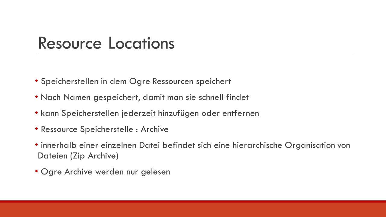 Resource Locations Speicherstellen in dem Ogre Ressourcen speichert Nach Namen gespeichert, damit man sie schnell findet kann Speicherstellen jederzei