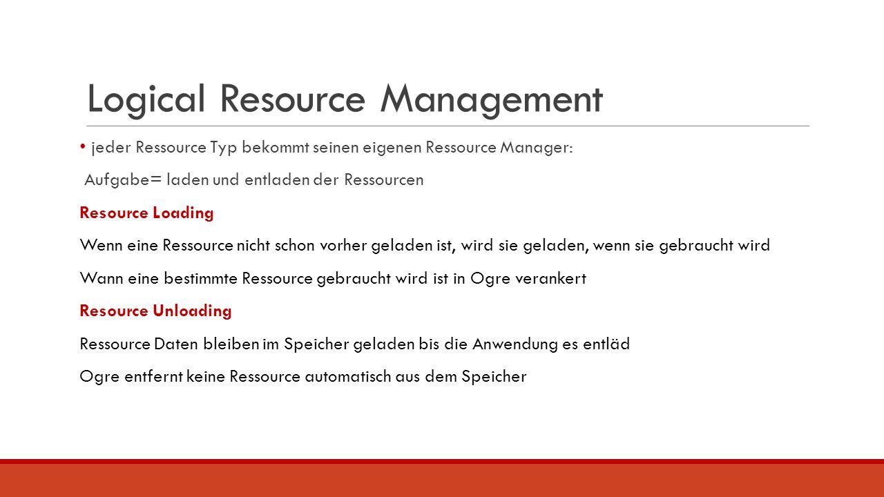 Logical Resource Management jeder Ressource Typ bekommt seinen eigenen Ressource Manager: Aufgabe= laden und entladen der Ressourcen Resource Loading