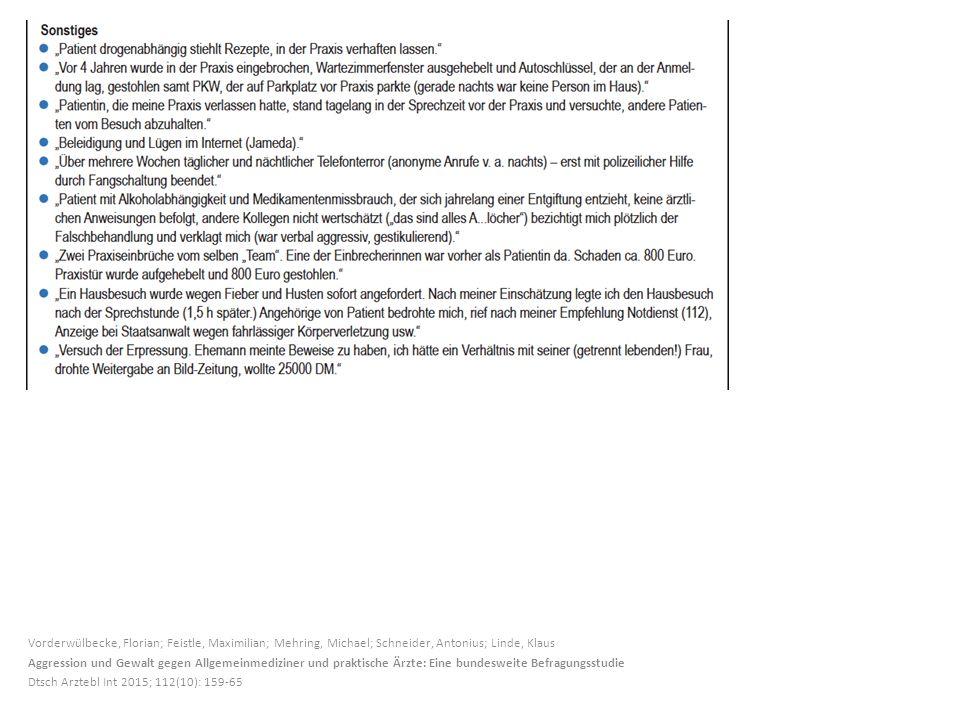 Vorderwülbecke, Florian; Feistle, Maximilian; Mehring, Michael; Schneider, Antonius; Linde, Klaus Aggression und Gewalt gegen Allgemeinmediziner und praktische Ärzte: Eine bundesweite Befragungsstudie Dtsch Arztebl Int 2015; 112(10): 159-65